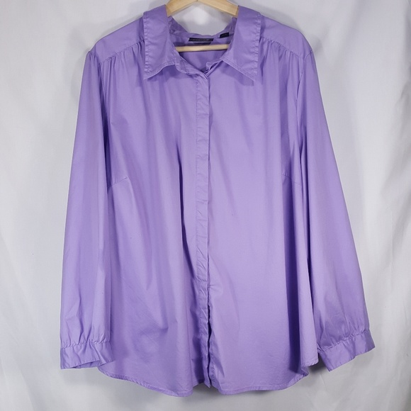 Avenue Tops - Plus Size Avenue Button Down Lavender Blouse